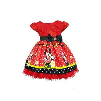 Vestido de Festa Infantil Temático Minnie Feminino