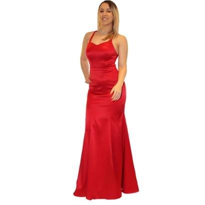 Vestido de Festa Longo Liso Sob em Cetim Sereia
