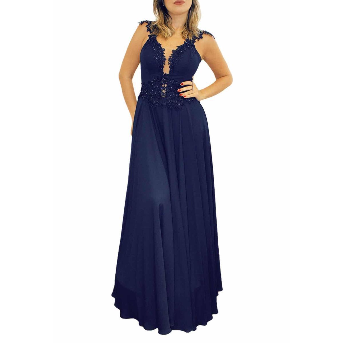 Vestido De Festa Sob Longo Com Tule Bordado Feminino Azul Escuro