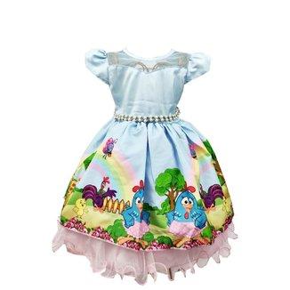 Vestido de Festa Temático Galinha Pintadinha Luxo Feminino
