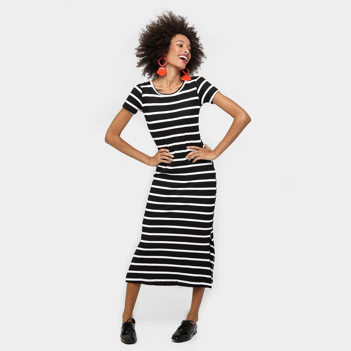 Vestido Disparate Midi Listrado Fenda Lateral - Compre Agora  3bff87441657e