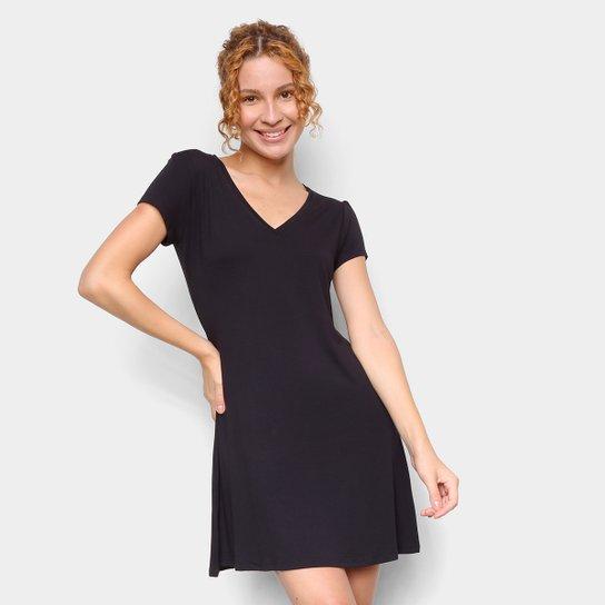 Vestido Dooplex Evasê Gola V - Preto