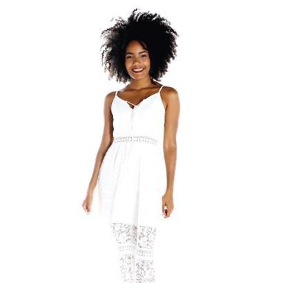 Vestido DWZ longo renda - Feminino-Branco