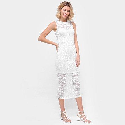 Vestido Eagle Rock Longo Renda - Feminino-Branco