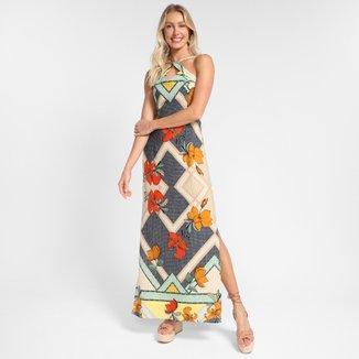 Vestido Efa Longo Core Com Fendas