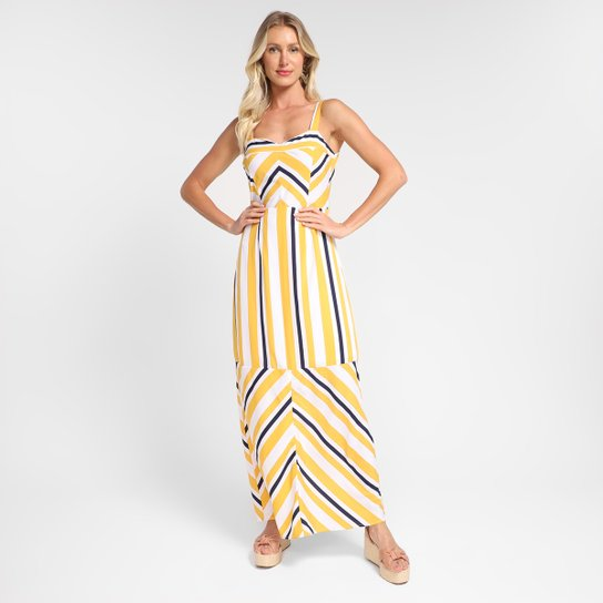 Vestido Efa Longo Core Com Fendas - Amarelo