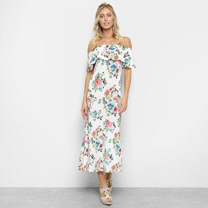 Vestido Efa Ombro A Ombro Longo Sereia Floral -Feminino