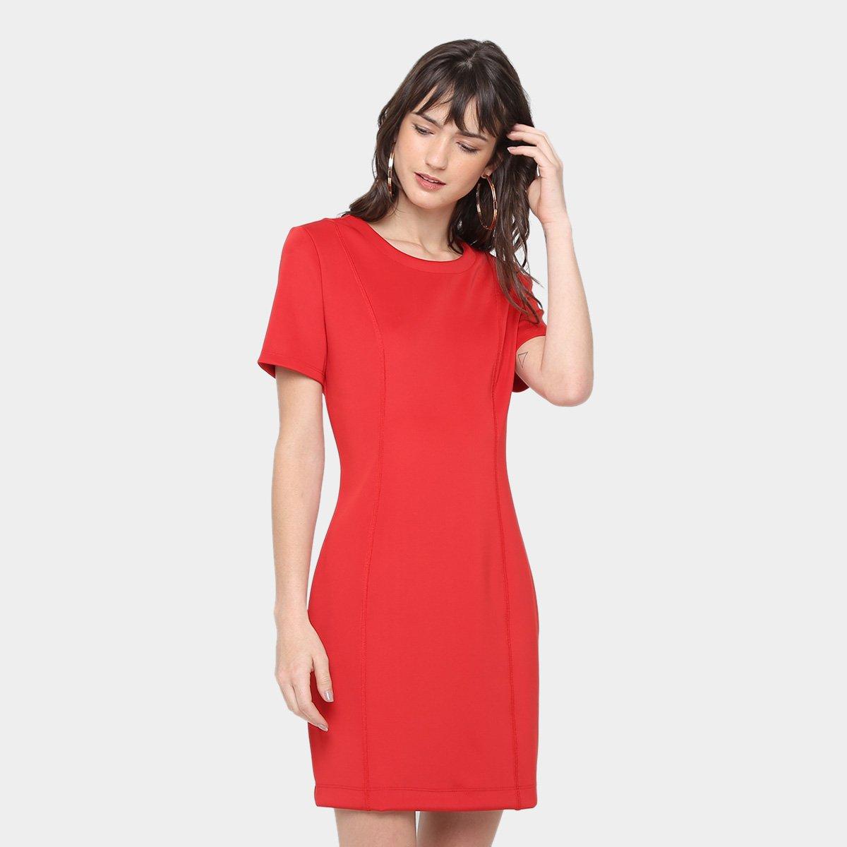 Vestido tubinho social vermelho