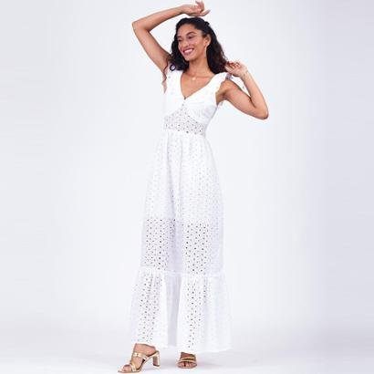 Vestido Elora Lese Longo Feminino - Feminino-Branco