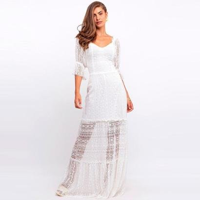 Vestido Elora Longo Rendado Feminino - Feminino-Branco