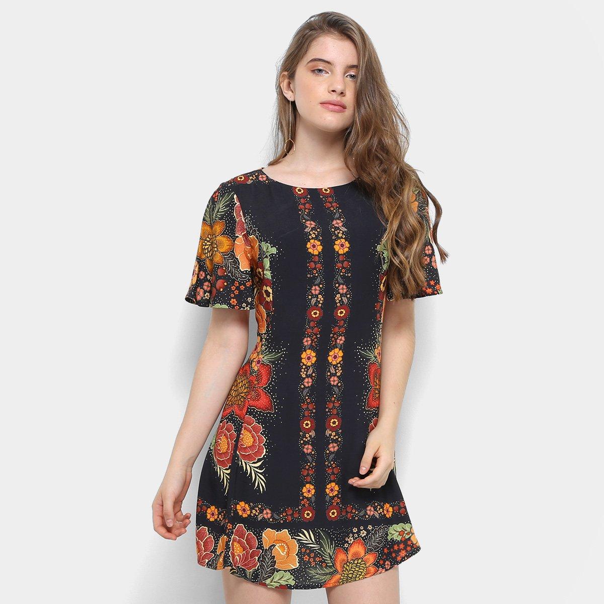 f938bc502 Vestido Estampado Floral Farm Manga Curta Feminina | Zattini