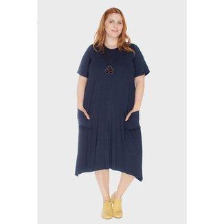 Vestido Evasê com Bolsos Plus Size Feminino