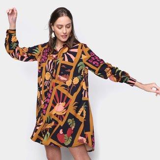 Vestido Farm Camisa Colagem Tropical Feminino