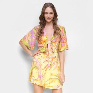 Vestido Farm Curto Bananal Com Amarração Frontal