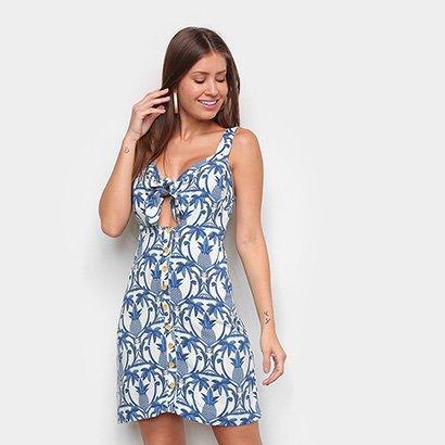 Vestido Farm Curto Novo Abacaxi Tropical