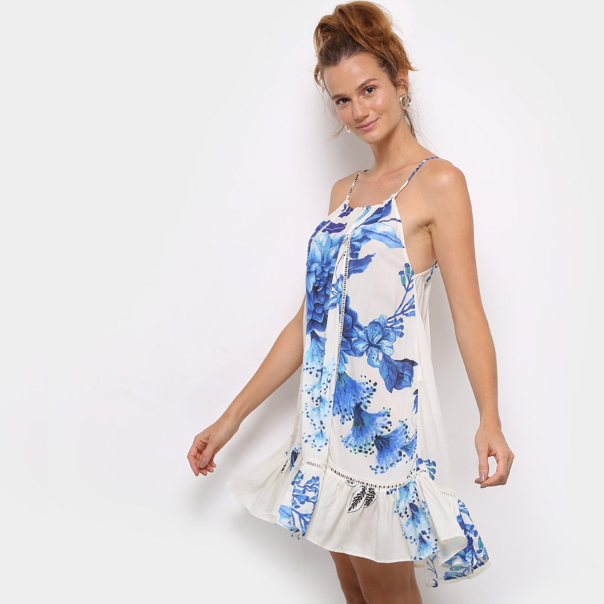 Vestido estampado azul e branco