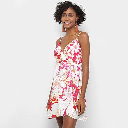 Vestido Farm Evasê Curto Transpasse Floral Line