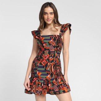 Vestido Farm Lastex Conto Colorido Feminino