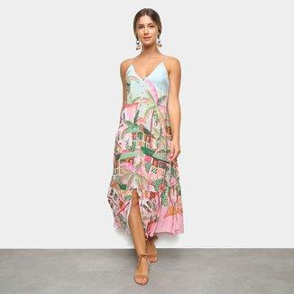 Vestido Farm Midi Baga Alças E Fenda Tropical