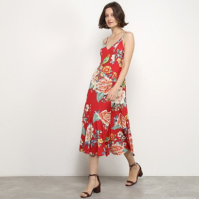 Vestido Farm Midi Floral Tropical
