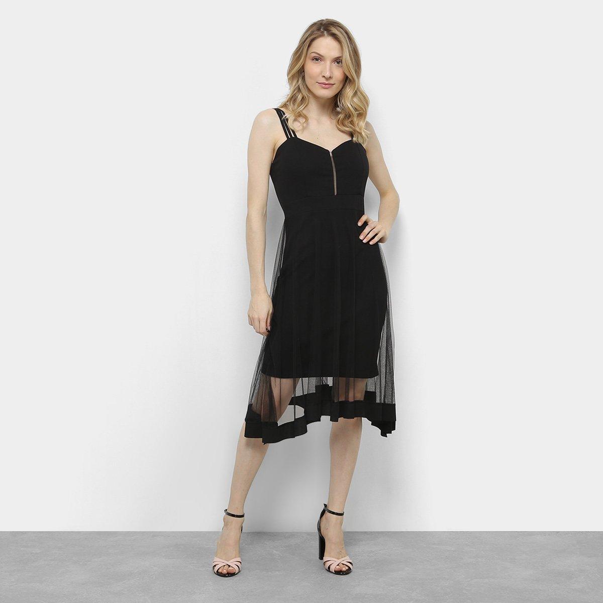 Vestido Festa Lily Fashion Tule Curto Preto