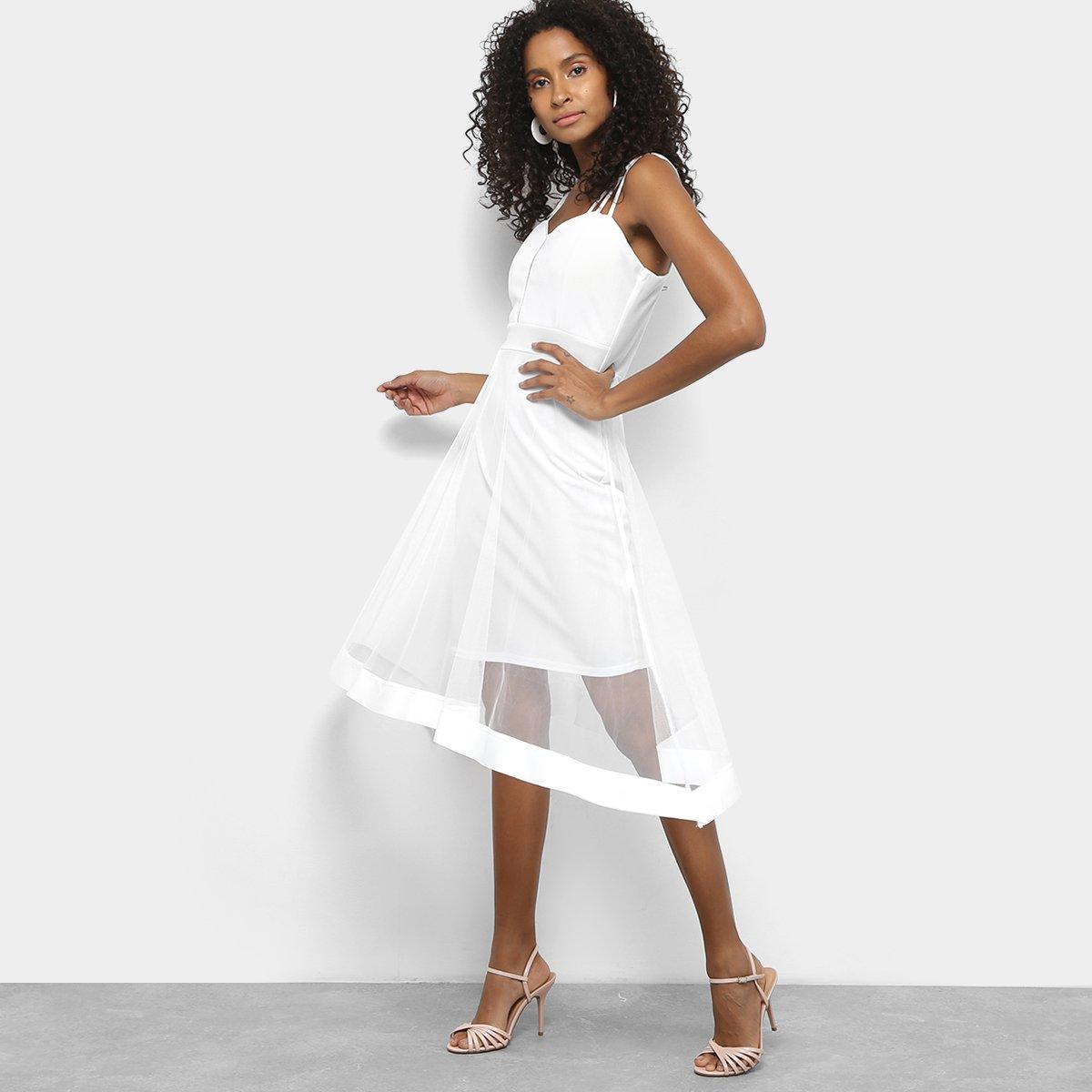 Vestido Festa Lily Fashion Tule Curto Branco
