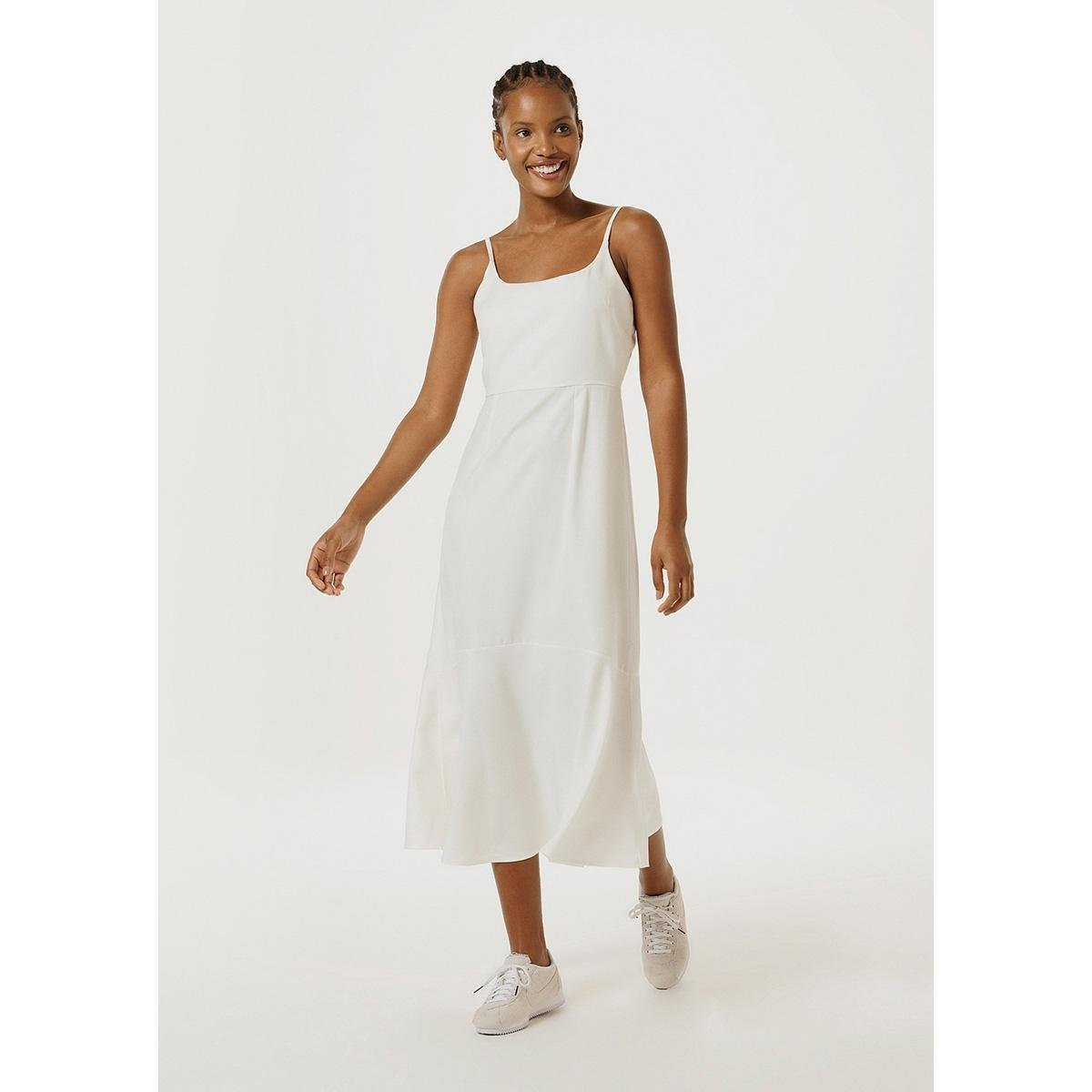 Vestido Fit And Flare Midi Com Linho Feminino - Off White