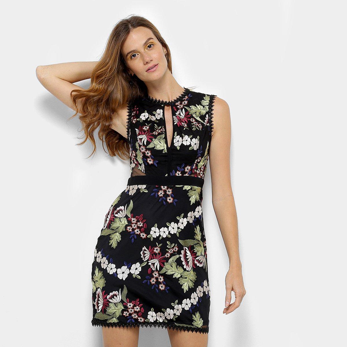 Looks com vestido! Preparada para o verão? Confira! Vestido Forum Bordado Floral com Tule - Preto e Off White