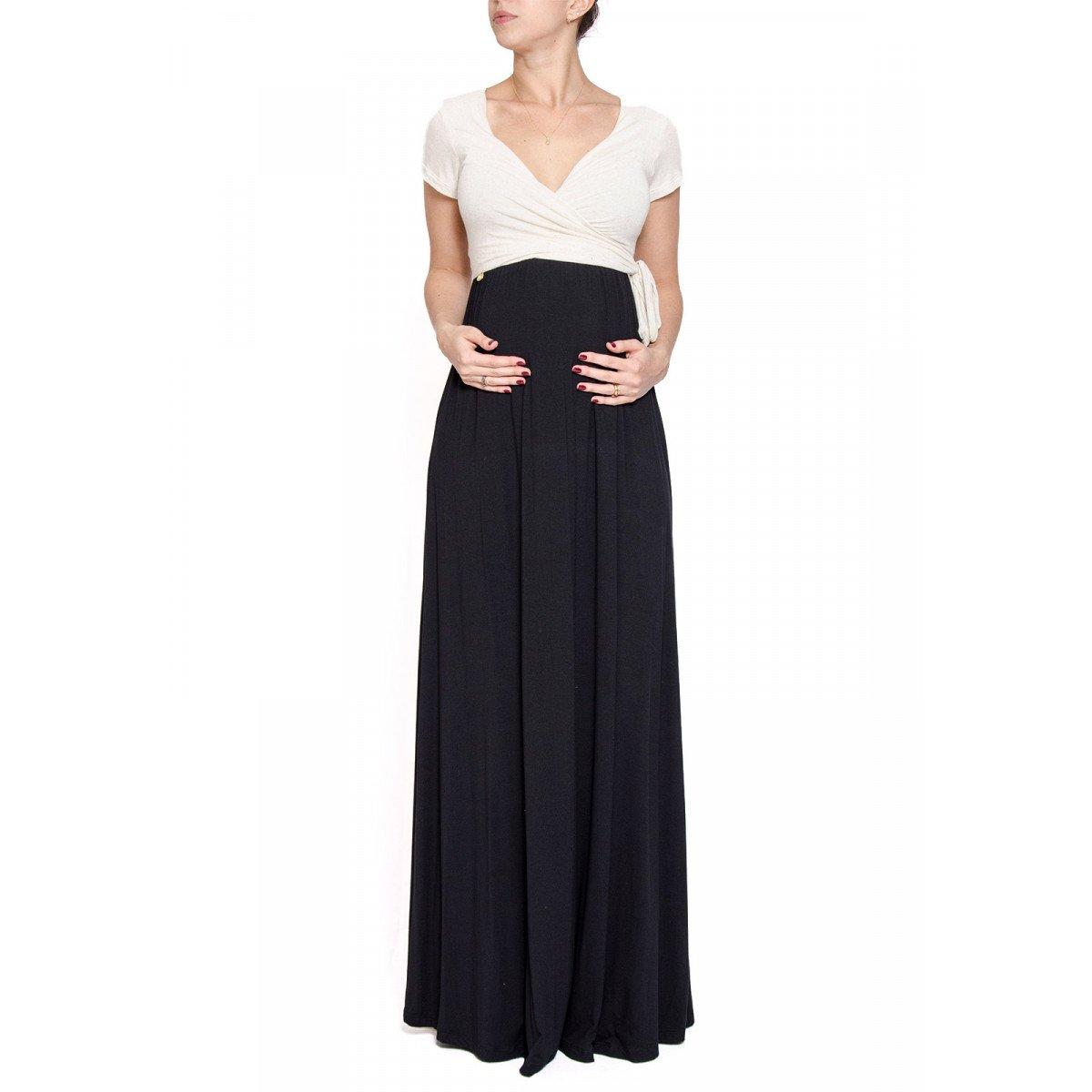 654801af3 Vestido Gestante Bicolor Longo - Off-white > P > | Zattini