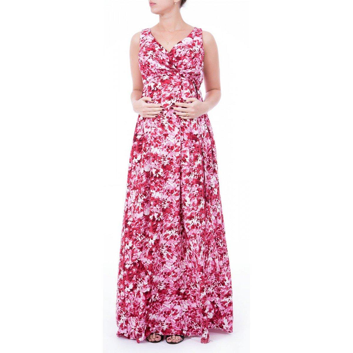 Vestido Gestante Longo Viscose Vermelho E Rosa