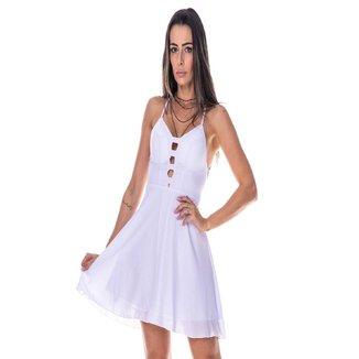 Vestido Gisele Freitas Básico Alça Trançada Curto Liso Feminino