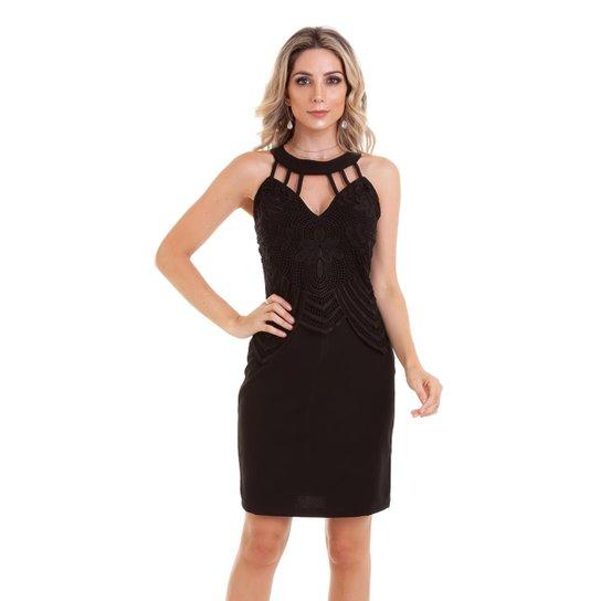 Vestido Gola Choker Aplicação De Guipir Feminino Zattini