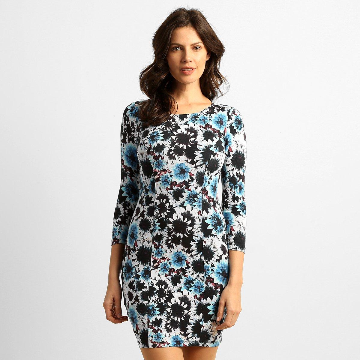 Vestido floral azul e branco