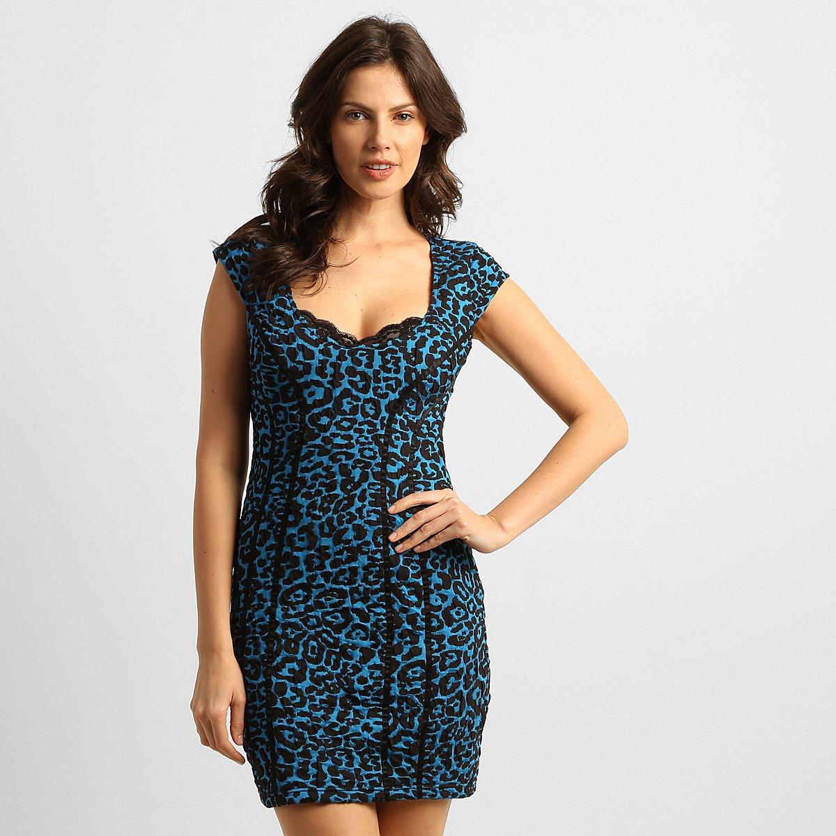 Vestido azul e preto extra