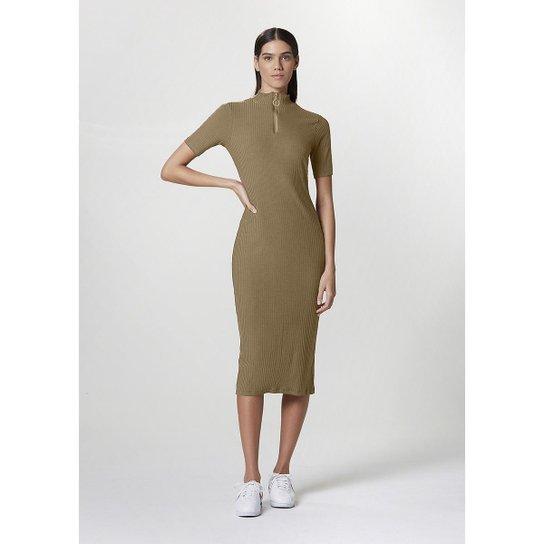 Vestido Hering Malha Canelada De Liocel com Elastano Feminino - Marrom