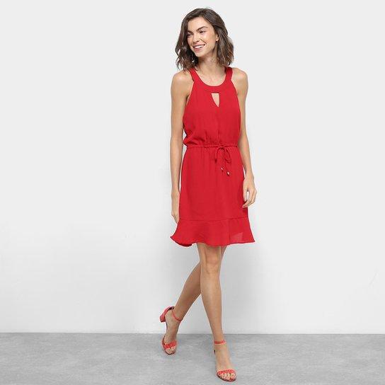 Vestido Holin Stone Peplum Cavado Costas Correntes Vermelho
