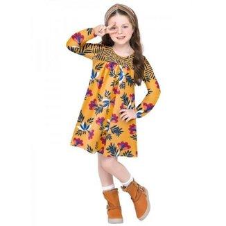 Vestido Infantil Amarelo Com Detalhes Em Flores - Nanai