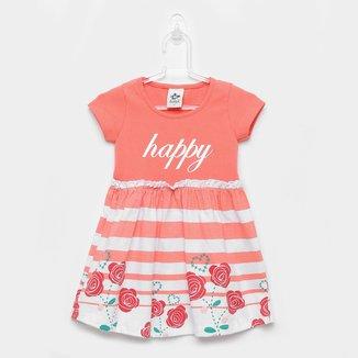 Vestido Infantil Andritex Cotton E Malha Happy