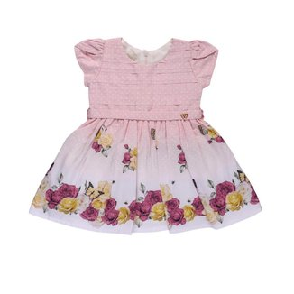 Vestido Infantil Anjos Baby Estampado flores Com  Bordado Feminino