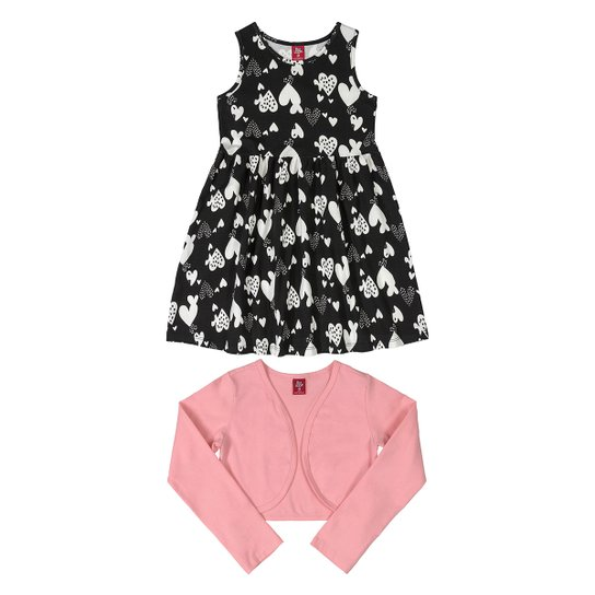 Vestido Infantil Bee Loop Estampado + Bolero - Preto