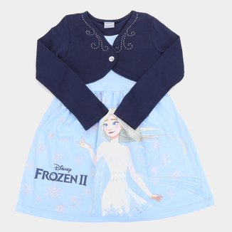 Vestido Infantil Disney Frozen By Fakini Manga Longa