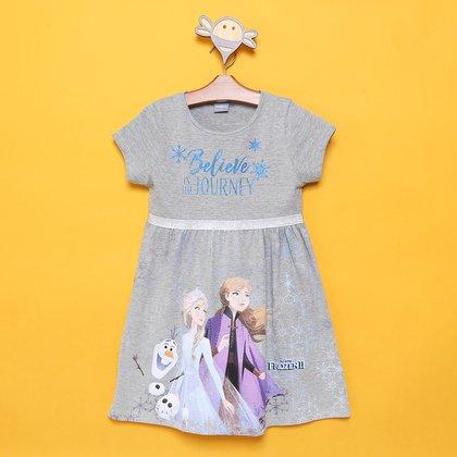 Vestido Infantil Disney Frozen c/ Glitter Feminino
