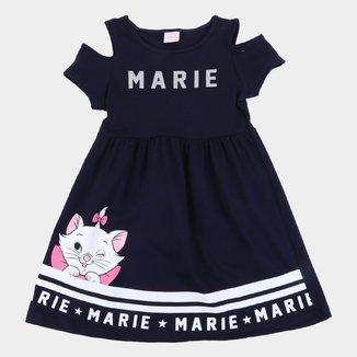 Vestido Infantil Disney Marie Recorte Ombro