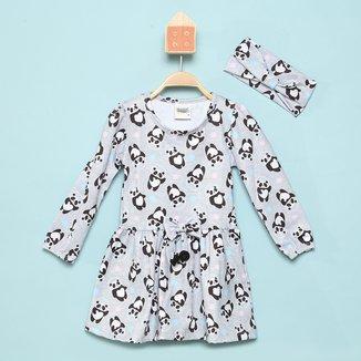 Vestido Infantil Duzizo Panda Manga Longa C/ Faixa de Cabeça
