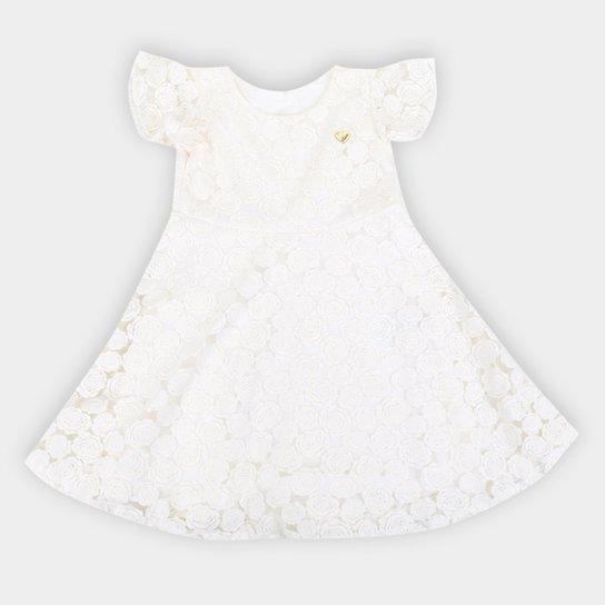 Vestido Infantil Elian Festa Tule - Off White
