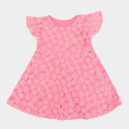 Vestido Infantil Elian Festa Tule - Rosa