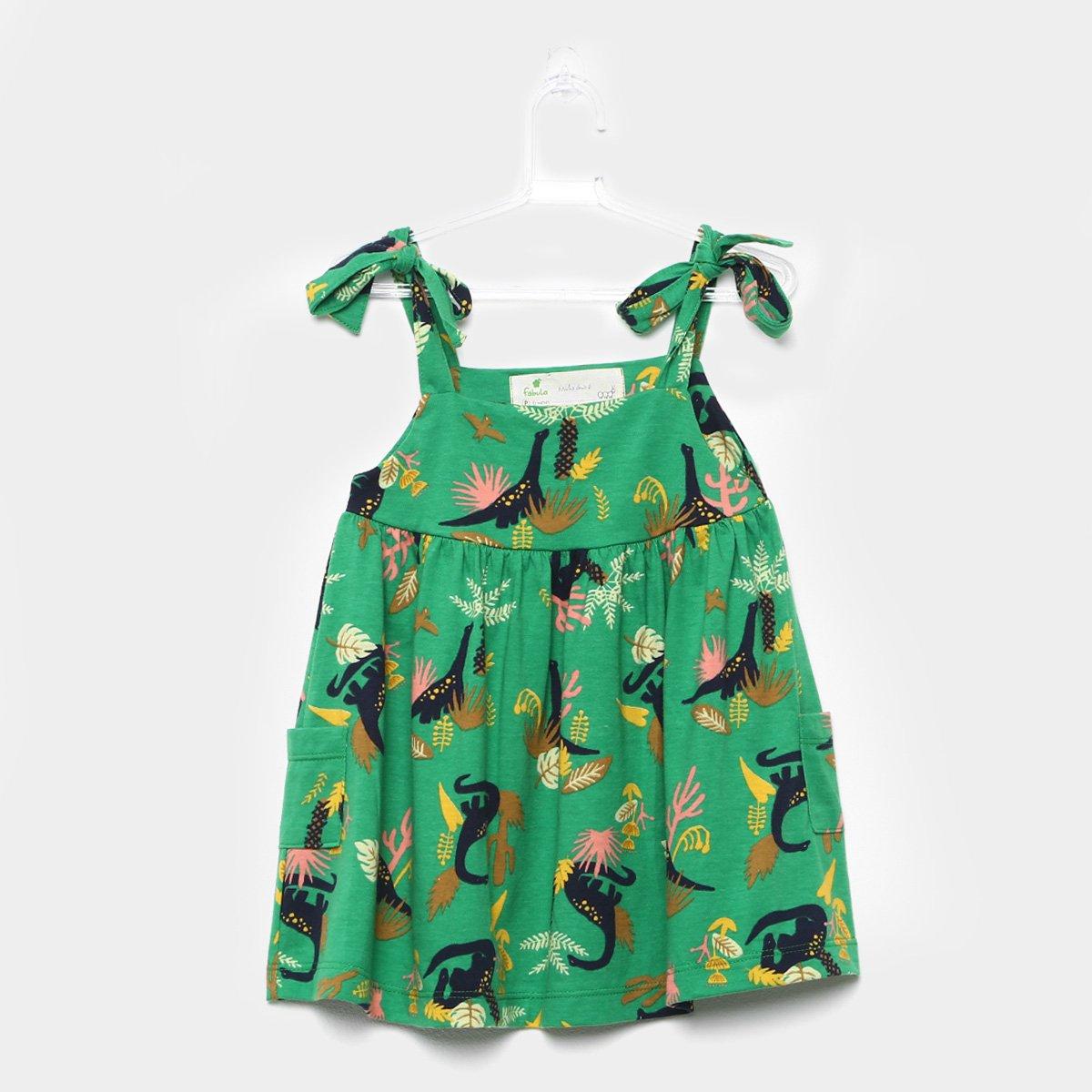 Vestido Infantil Fábula Estampado Dinossauros Feminino - Compre Agora  b42cd58ef4a