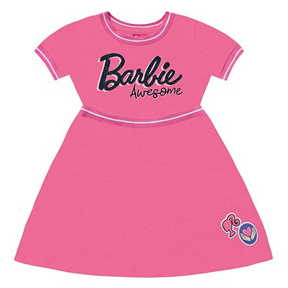 Vestido Infantil Fakini Curto Barbie Feminino-Rosa