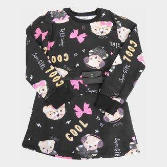 Vestido Infantil Fakini Estampado C/ Cinto Manga Longa