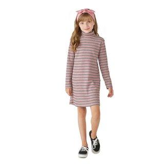 Vestido Infantil Feminino Fio Tinto Com Gola Alta
